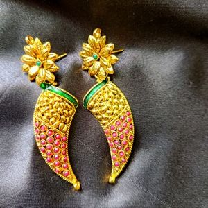Traditional ruby-emarald stone studded danglers